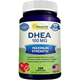 Pure DHEA (100mg Max Strength, 200 Capsules) to Promote Balanced Hormone Levels for Women & Men - Natural DHEA Supplement Pil
