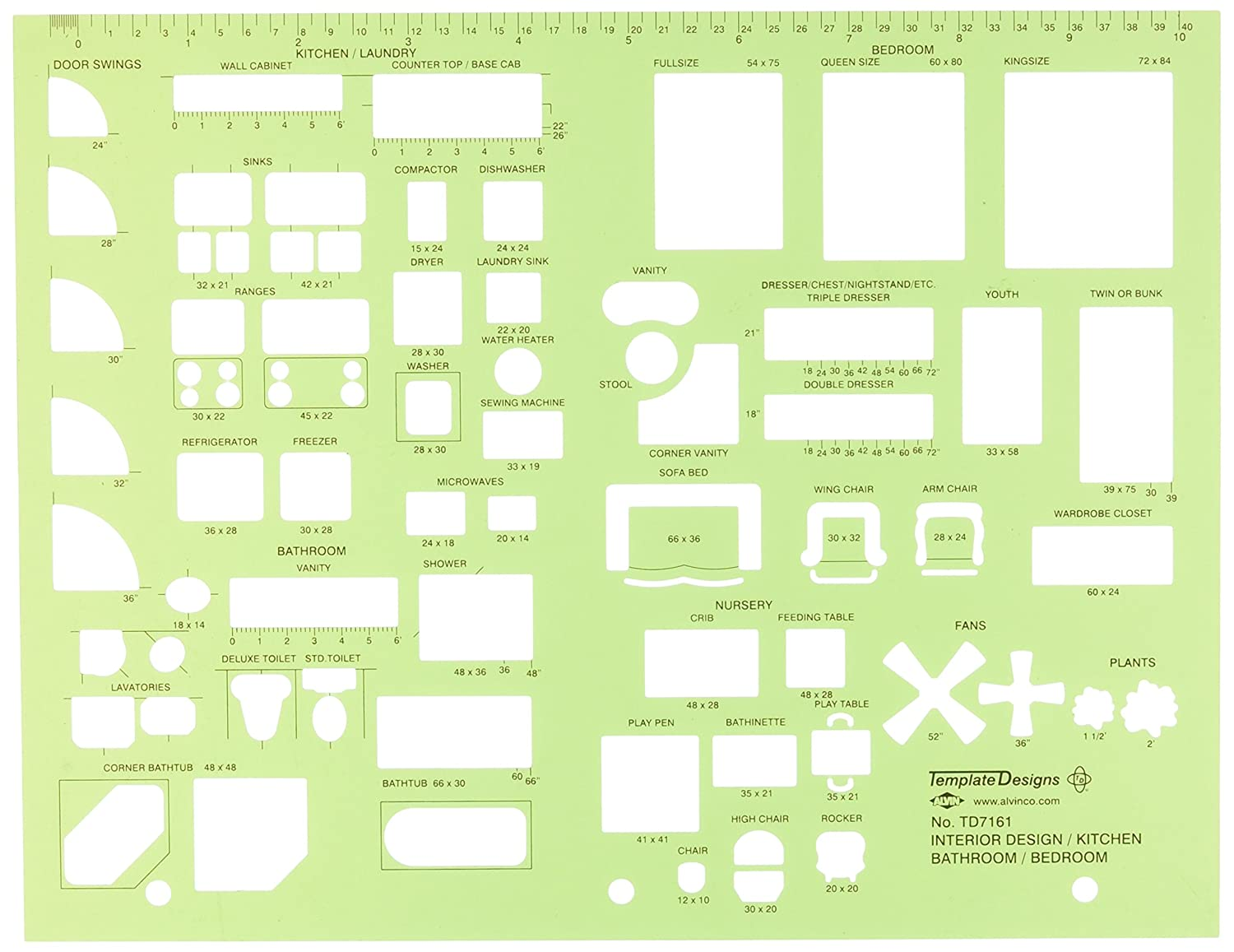 Amazon Alvin Interior Design Kitchen Bed Bath Template TD7161 Drafting Tools Office Products