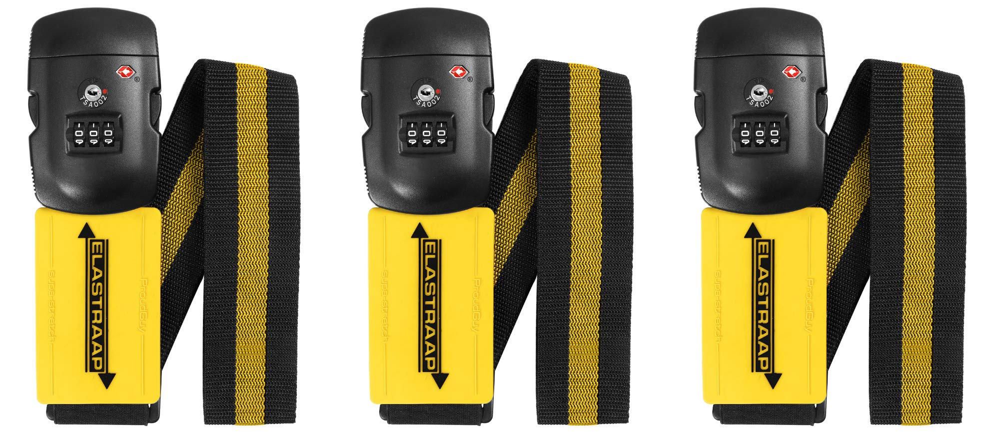 TSA Luggage Straps ELASTRAAP for Carry On, Non-Slip, 3 Pack Bundle (3 Yellow) by ProudGuy