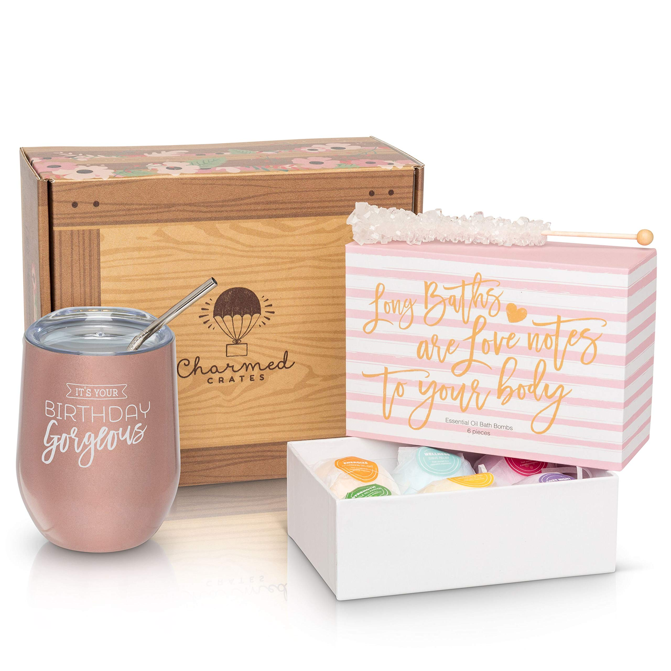 Happy Birthday Gift for Women: Stainless Steel Tumbler, Bath Bomb Set, & Candy Box for Her