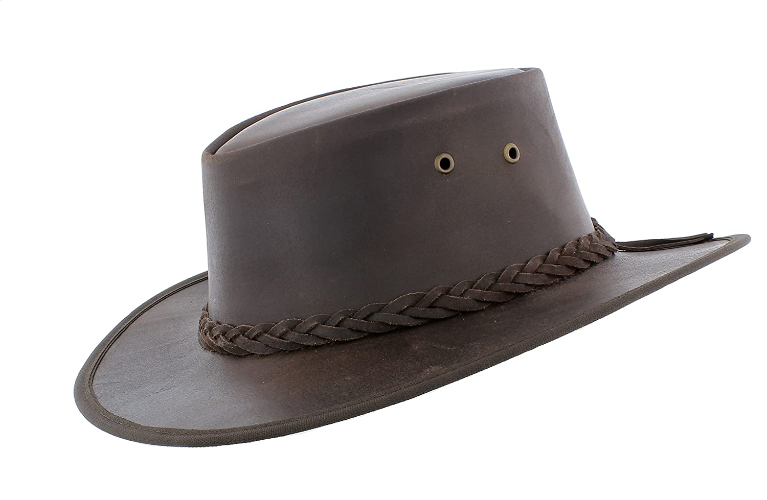 Outback Real Leather Bush Hat With Chin Strap (Aussie/Western/Australian)