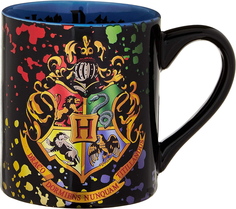 Silver Buffalo HP113932Z Harry Potter Hogwarts Crest Splatter ceramic Mug, 14 oz, Multicolor