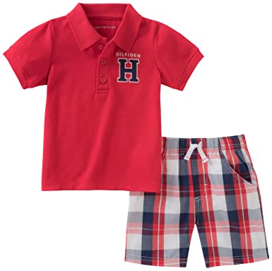 15238b42 Amazon.com: Tommy Hilfiger Baby Boys 2 Pieces Creeper Polo Shorts Set:  Clothing