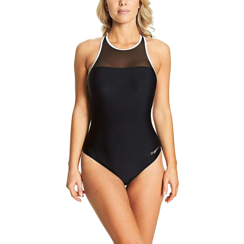 Zoggs Womens Monochrome Mesh Crossback One Piece Bathing Suit