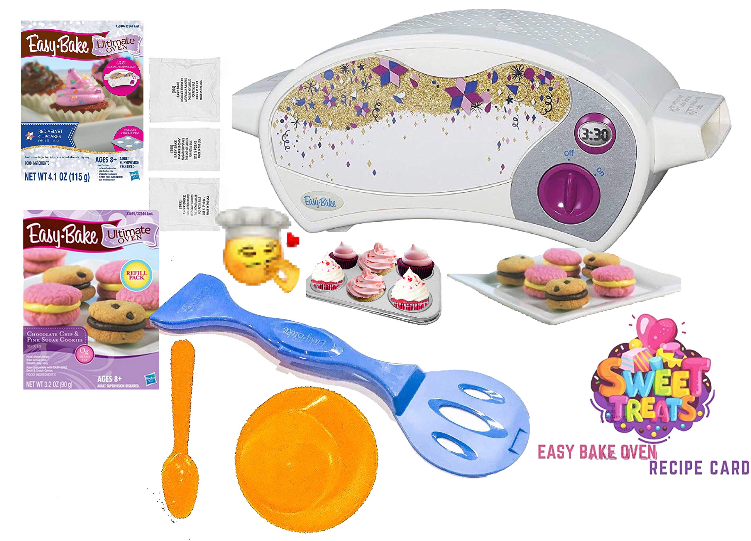 Party Lab 365 Easy Bake Ultimate Oven Baking Star Edition + 2 Oven Refill Mixes + 2 Sweet Treats Tasty Oven Recipes + Mixing Bowl and Spoon (5 Total Items) (Orange) by Party Lab 365