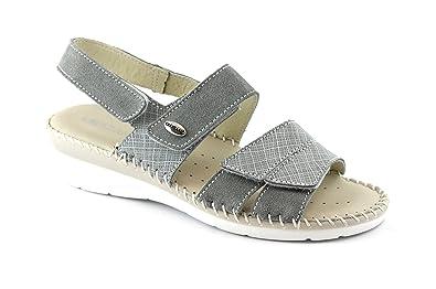 Grunland Grünland CERA SA1781 femmes chaussures gris sandales en cuir co Grigio - Chaussures Sandale Femme