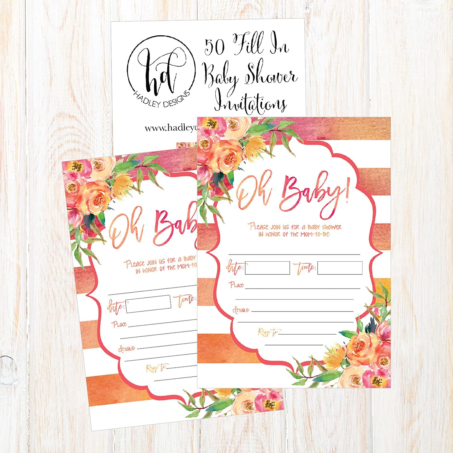 Amazon 50 Fill In Cute Baby Shower Invitations Baby Shower