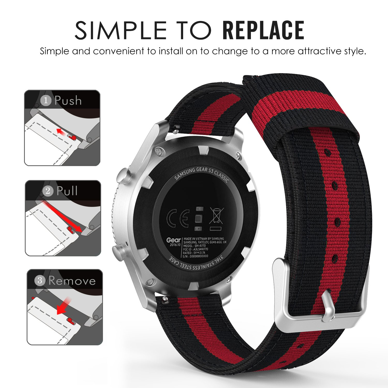 MoKo Gear S3 Frontier/S3 Classic/Galaxy Watch 46mm/Huawei Watch GT 46mm/Ticwatch Pro SmartWatch Correa - 22mm Reemplazo & Adjustable Nilón Strap Band ...