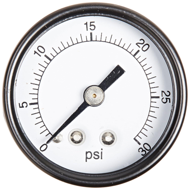Center Back Mount Single Scale Dry Pressure Gauge with a Black Steel Case 1//8 Male NPT Connection Size PIC Gauge S102D-158C 1.5 Dial Chrome Bezel Brass Internals 0//30 psi Range and Plastic Lens