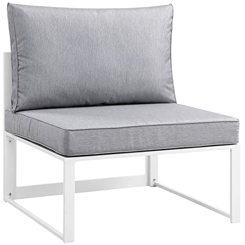 Modway Fortuna Aluminum Outdoor Patio Armless Chair in White Gray