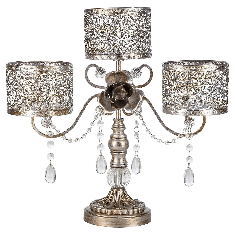 'Victoria Collection' Antique Centerpiece 3 Pillar Candle Holder