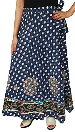Indian Long Wrap Skirt Sequins Beads Cotton Maxi Printed Designer Clothes  (Blue) at Amazon Women s Clothing store  b1795a747e