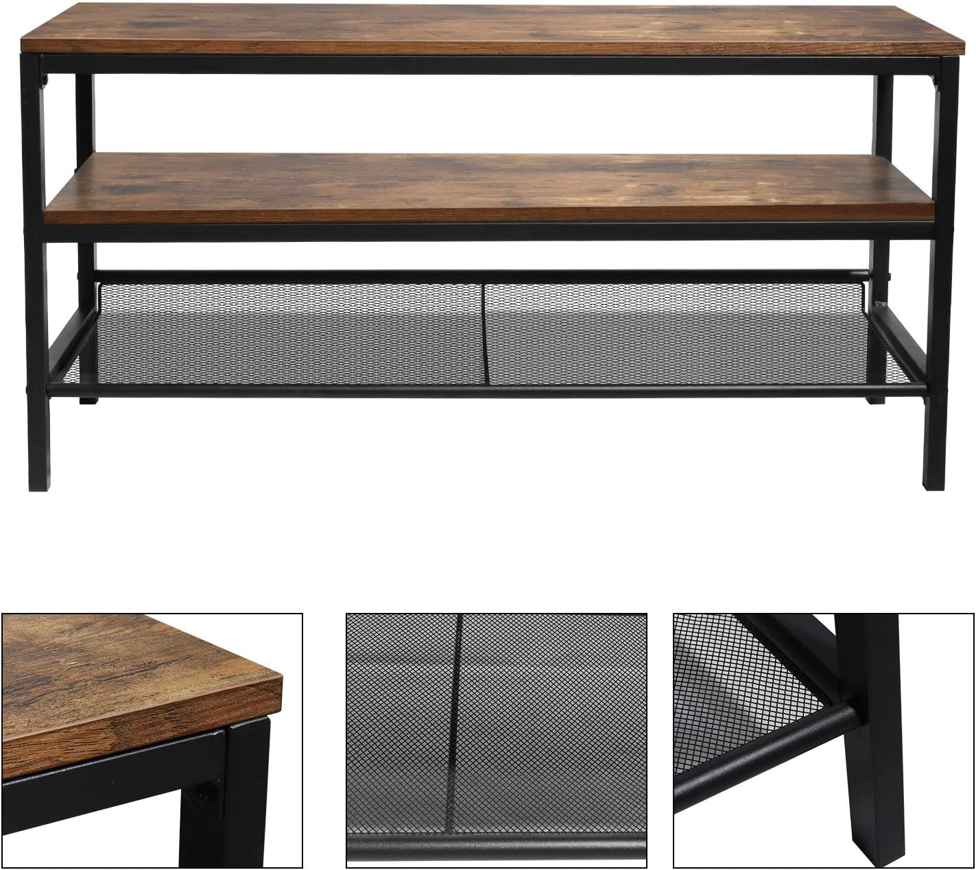 Industrial for Living Room,Three-Tier Rustic Brown Wood-Like Grain Lengthened TV Cabinet Coffee Table with Metal Frame HOMBYS Wooden TV Cabinet Console