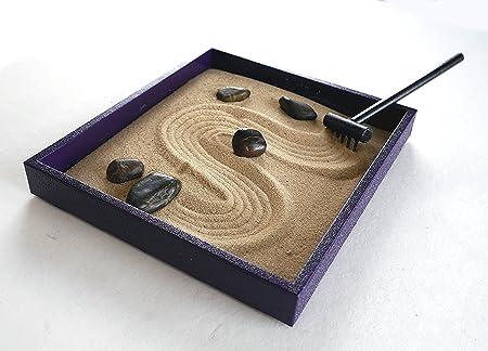 Mini jardín Zen Kit Accesorios de Escritorio Oficina Morado Decor Hecho a Mano: Amazon.es: Hogar