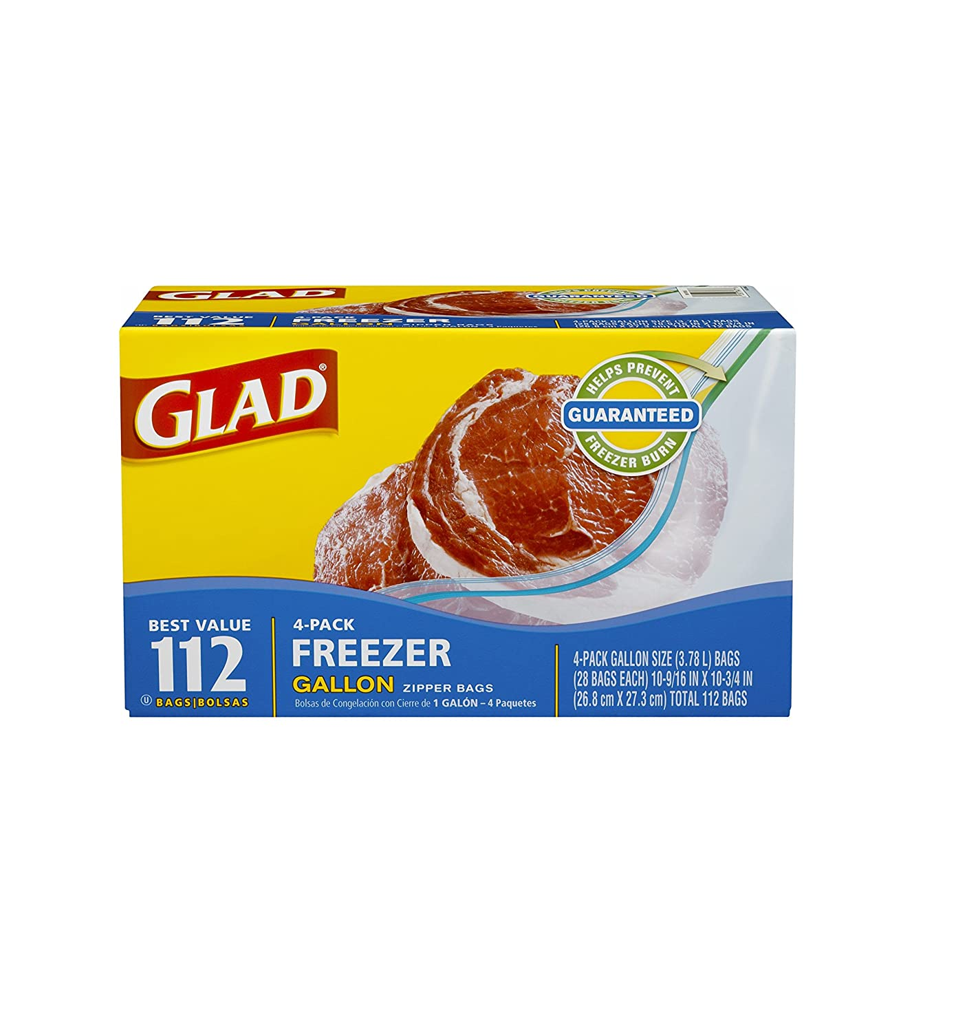 Glad Extra Wide Seal Gallon Zipper Bags Freezer 4-pack 112 Bags