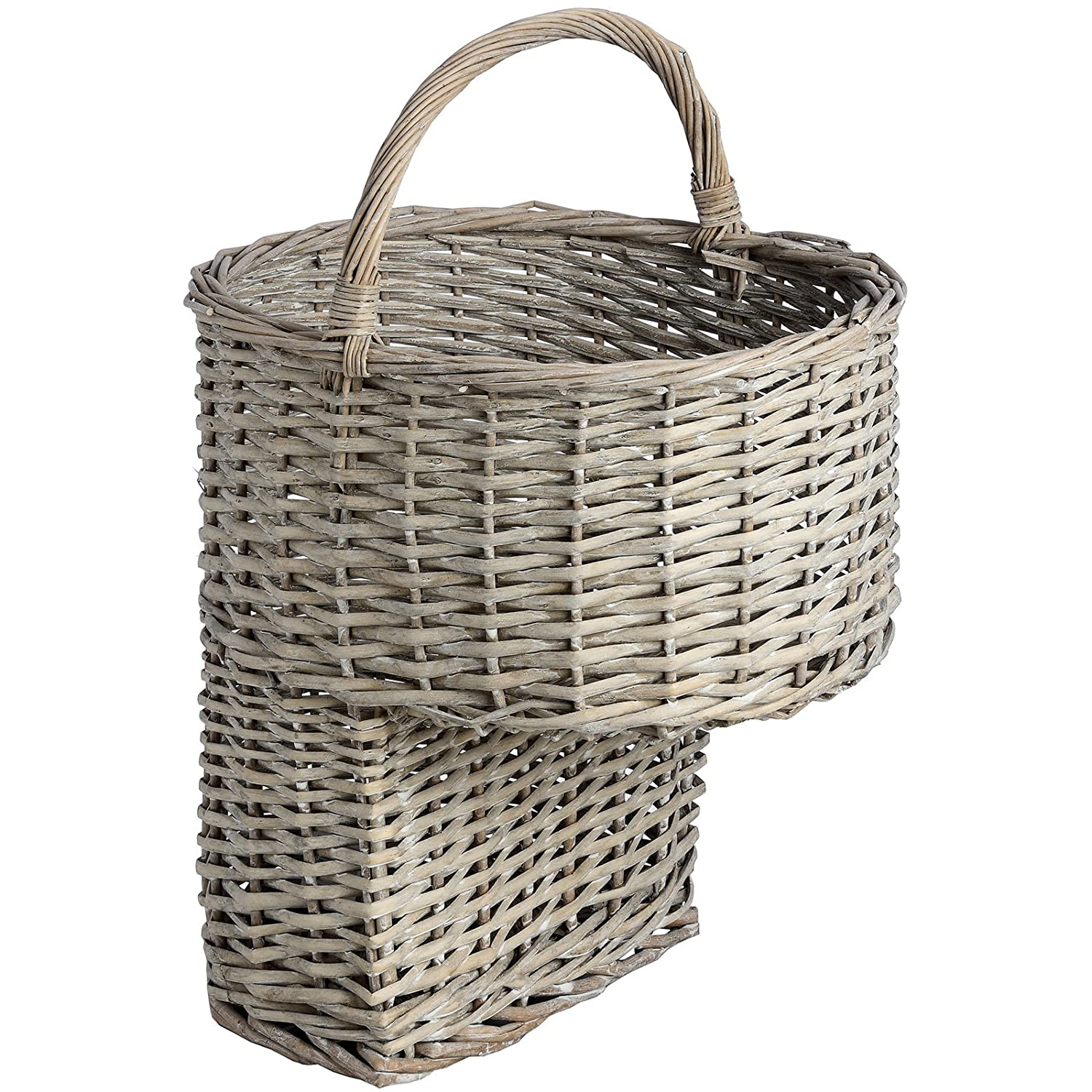 Interior Flair Sturdy Natural Grey Wicker Stair Basket Storage Basket with Handle