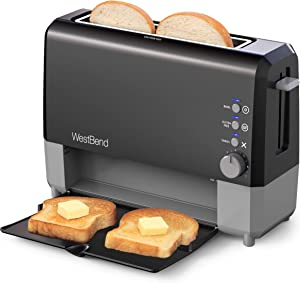West Bend 77224 QuikServe Slide Through Wide Slot Toaster with Cool Touch Exterior and Removable Crumb Tray, 2-Slice, Black