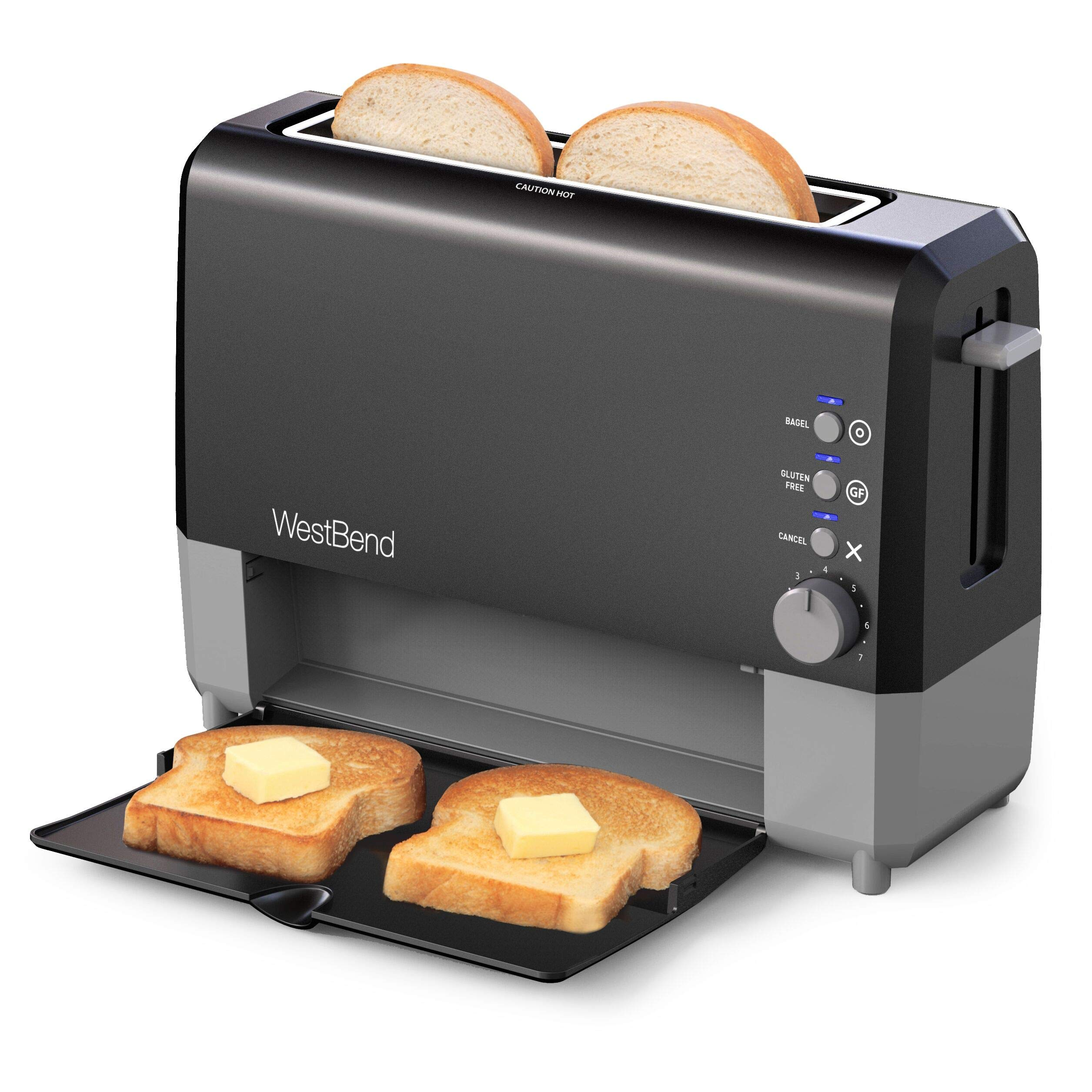 West Bend 77224 Quik Serve Slide Through Wide Slot Toaster with Cool Touch Exterior and Removable Crumb Tray, 2-Slice, Black