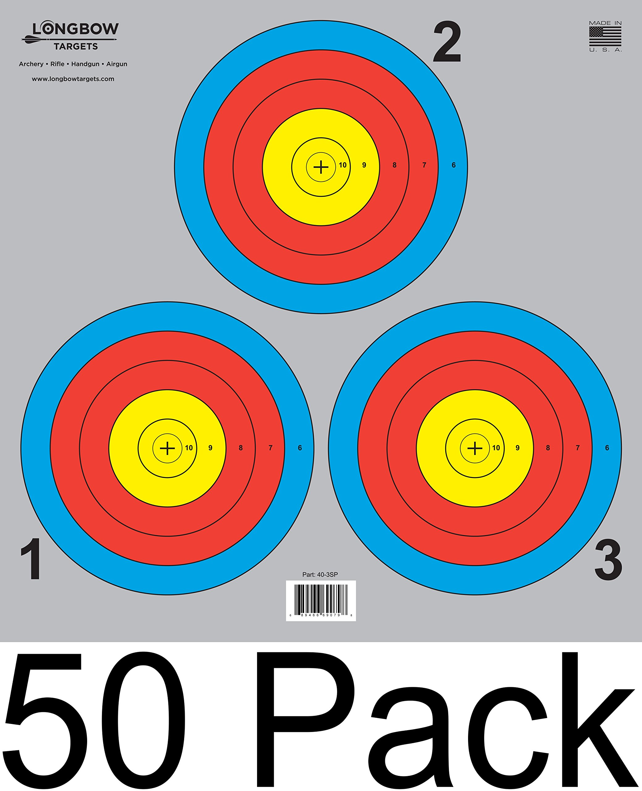 Archery 5 SPOT & 3 SPOT Vegas Targets by Longbow 8, 20, 50 & 200 Packs (3 Spot (50 Pack))