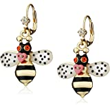Betsey Johnson Gold-Plated Bumble Bee Drop Earrings
