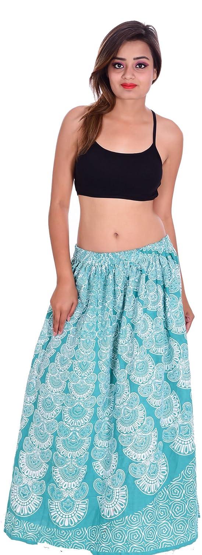 Indian 100/% Cotton Mini Skirt Women Floral Print Hippie Plus Size White Color