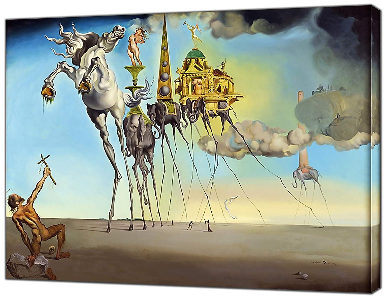 Die Versuchung des Heiligen Anthony von Salvador Dali Holz auf Leinwand Kunstdruck Home Dekoration, 40 x 30 inch(102 x 76 cm)-18mm depth