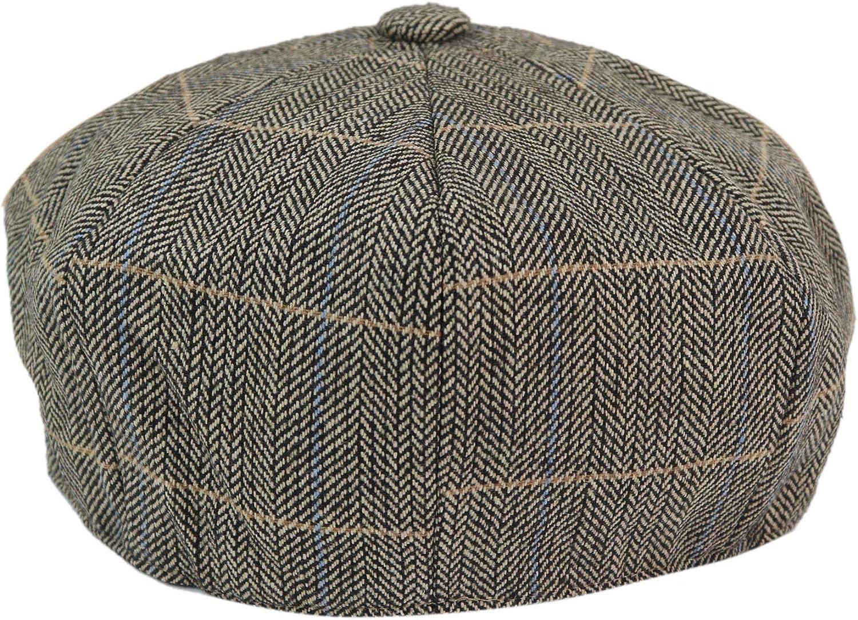 Homme 8 Panneau Laine Chapeau Baker Boy Newsboy Flat Casquette Grand-père Tweed Check 1920 S patraque