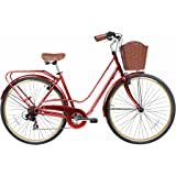 """Gama Bikes Women's City Avenue Step-Thru 7 Speed Shimano Commuter Road Bicycle, 17""""/One Size, Red"""