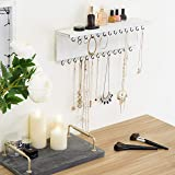 MyGift Wall-Mounted Vintage White Wood Jewelry
