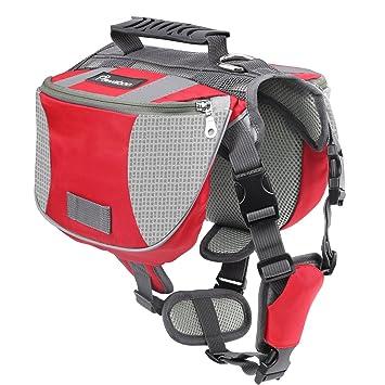 Pawaboo Dog Backpack, Pet Adjustable Saddle Bag Harness Carrier, for