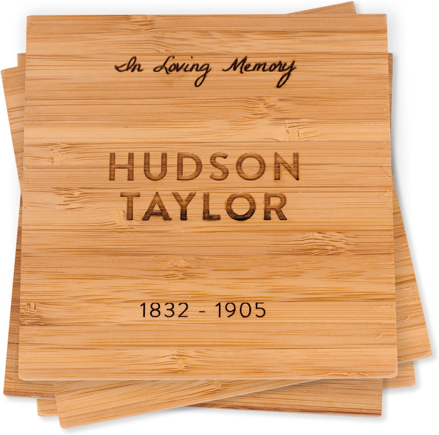 Amazon Com Personalized Memorial Bamboo Wood Coaster Set Sympathy Gift Set Of 4 Custom Engraved Coasters With Holder In Loving Memory Coasters