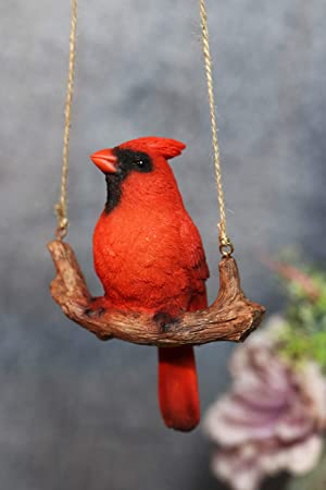 Ebros Patio Home Garden Hanging Northern Red Cardinal Bird Perching On Branch Figurine Nature Resin Hand Painted Decorative Sculpture Window Treatment Outdoor Decor Accent Furniture Decor