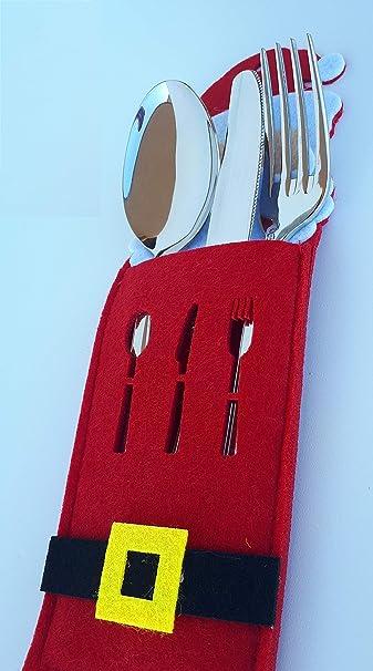 JS 12 PORTAPOSATE Natalizie in Feltro,Panno Rosso,3 Fantasie all Interno della Confezione,Porta Posate Natalizi Set 12 Pezzi per forchetta Cucchiaio e Coltello Decorazioni Natalizie per la tavola