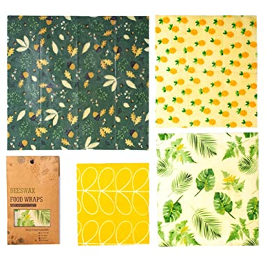 Beeswax Wraps, 4 Pack Reusable Beeswax Food Wrap, FDA Certified Eco-Friendly, Plastic Free, Large Wrap for Sandwich, Snacks, Fruits or Cheese
