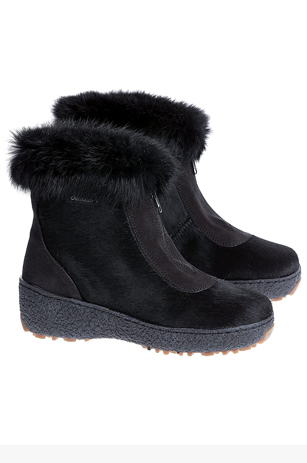 Retro Boots, Granny Boots, 70s Boots Womens Rose Shearling-Lined Rabbit Fur and Calfskin Boots $289.00 AT vintagedancer.com