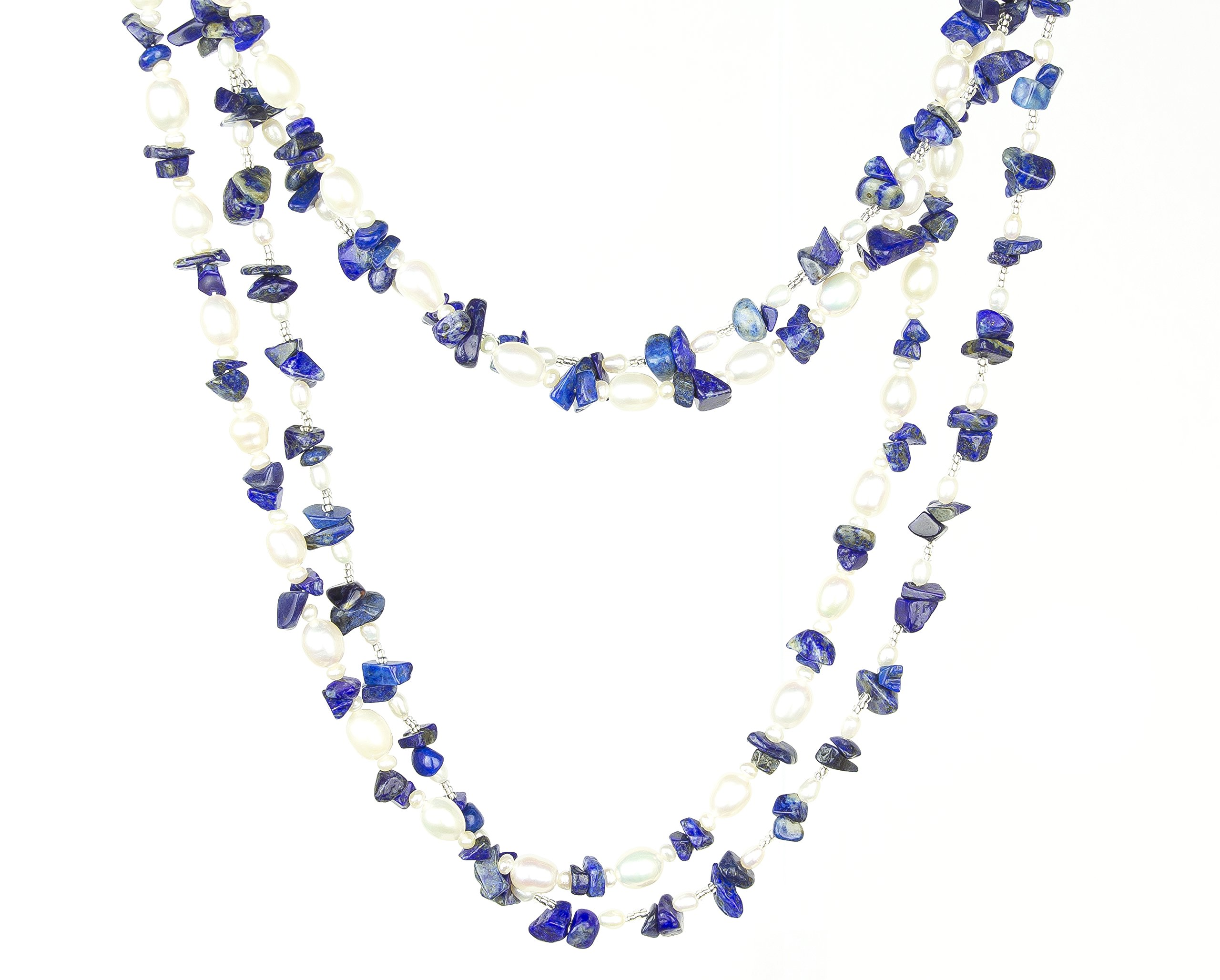 HinsonGayle 'Azura' 2-Strand Blue Azurite & Freshwater Cultured Pearl Necklace & Dangle Earrings-40 in length