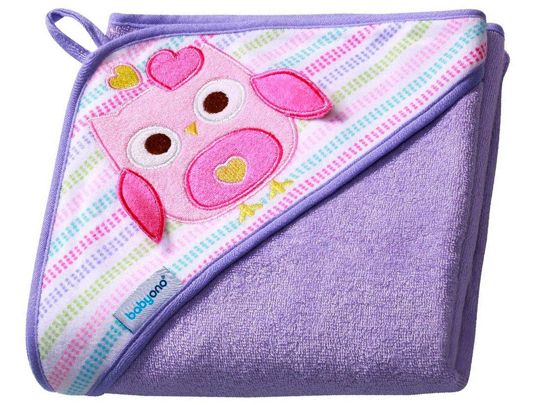 Baby Badehandtuch mit Kapuze FROTTEE / Kinder Kapuzenhandtuch 100x100cm 7316 (Lila / Eule) Babyono