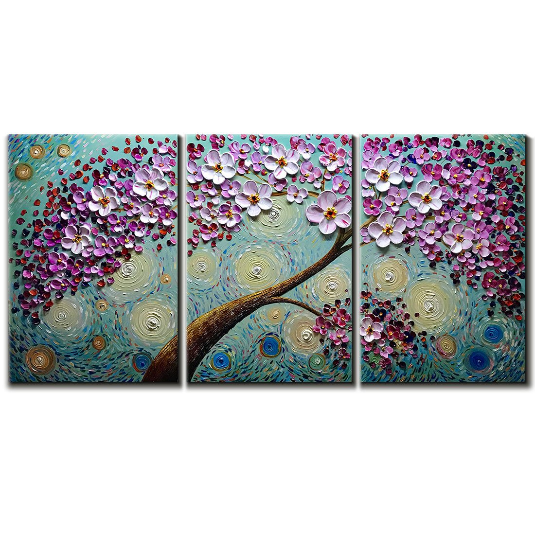 Hand-painted Oil Painting, V-inspire Blooming life Abstract 3D Hand-Painted Modern Home Decoration Abstract Artwork Art 3 Panels Wood Inside Framed Hanging 16x24Inchx3 by V-inspire