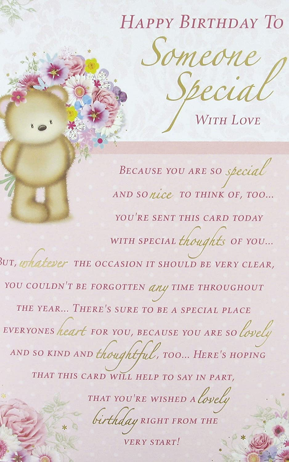 Female Someone Special 8 Page Reflections Birthday Card 95 x – Birthday Card for Someone Special