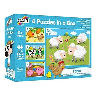 Galt Toys, Four Puzzles in a Box - Farm: Toys & Games