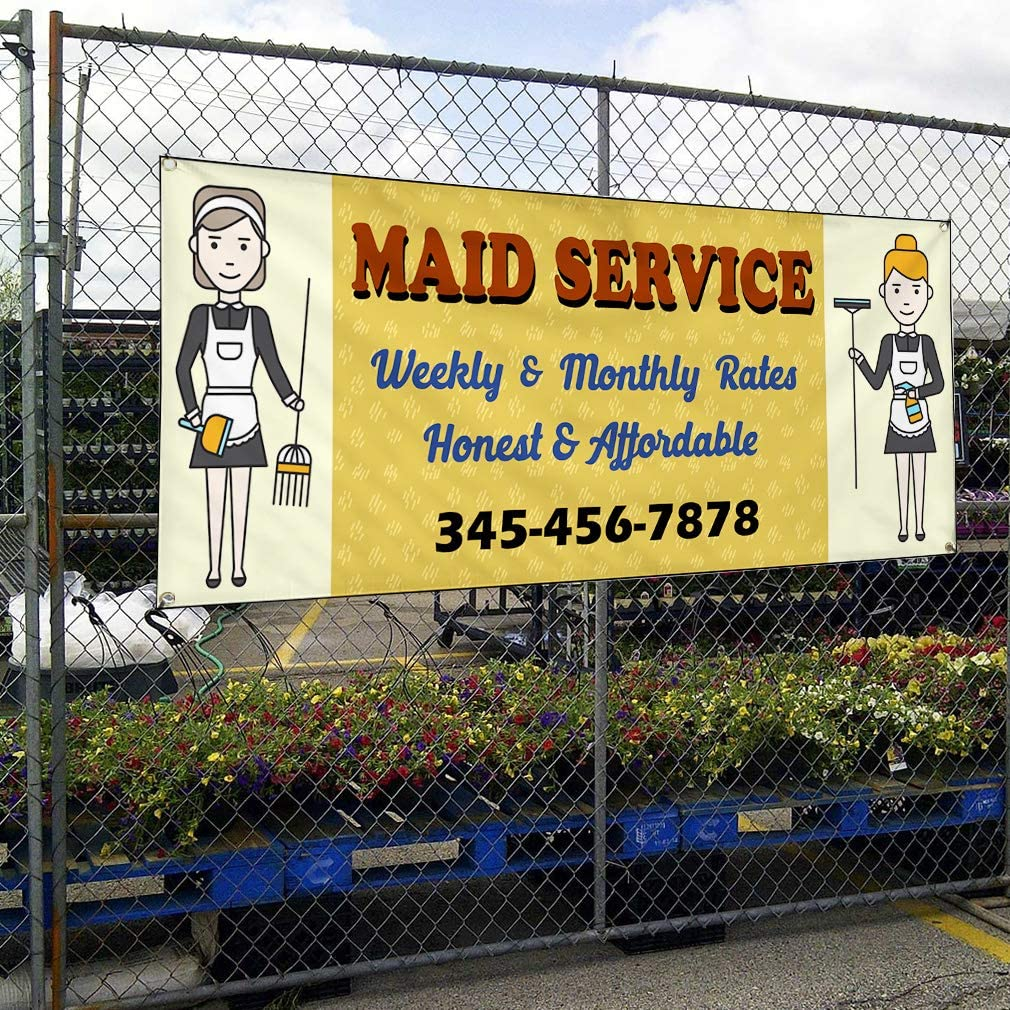 Custom Vinyl Banner Sign Multiple Sizes Maid Service Weekly Monthly Rated Business Maid Services Outdoor Brown 10 Grommets 56inx140in One Banner