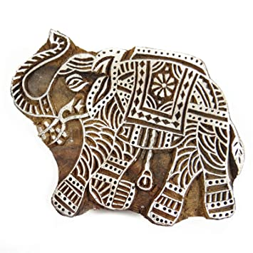 Handarbeit Aus Holz Blöcke Elefanten Muster Textildruck Auf Stoff ...