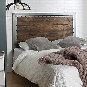 WE Furniture AZBQAWRW Bed/Headboard, Queen, Brown