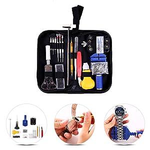 Ohuhu 147 PCS Watch Repair Tool Kit Case Opener Spring Bar Tool Set Bonus A Hammer