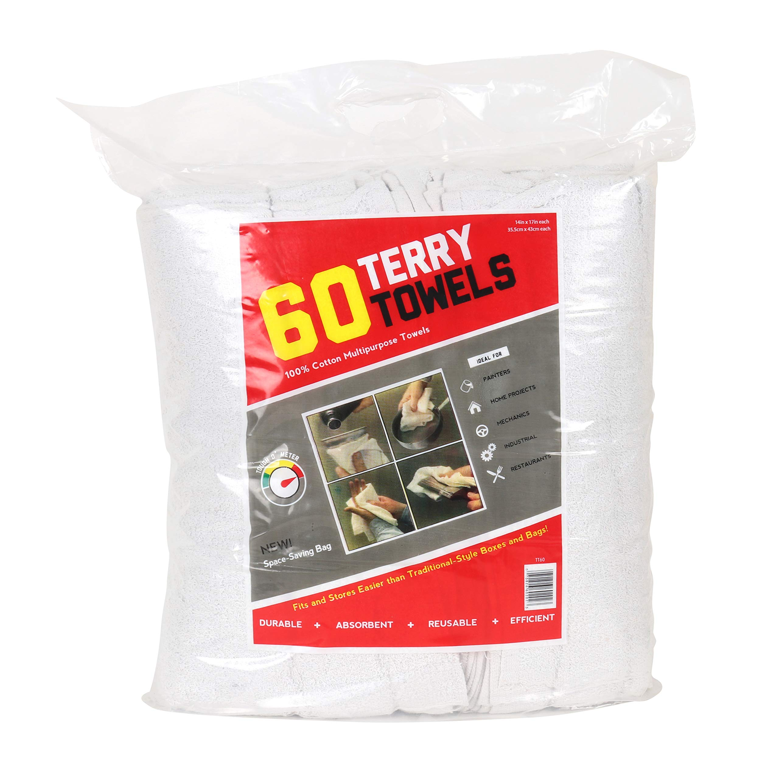 Arkwright Terry Towels (60 Pack) | 100% Cotton Commercial Grade Rags | Perfect for Your Home, Garage, Auto, Shop Floor (14 X 17 in, White)