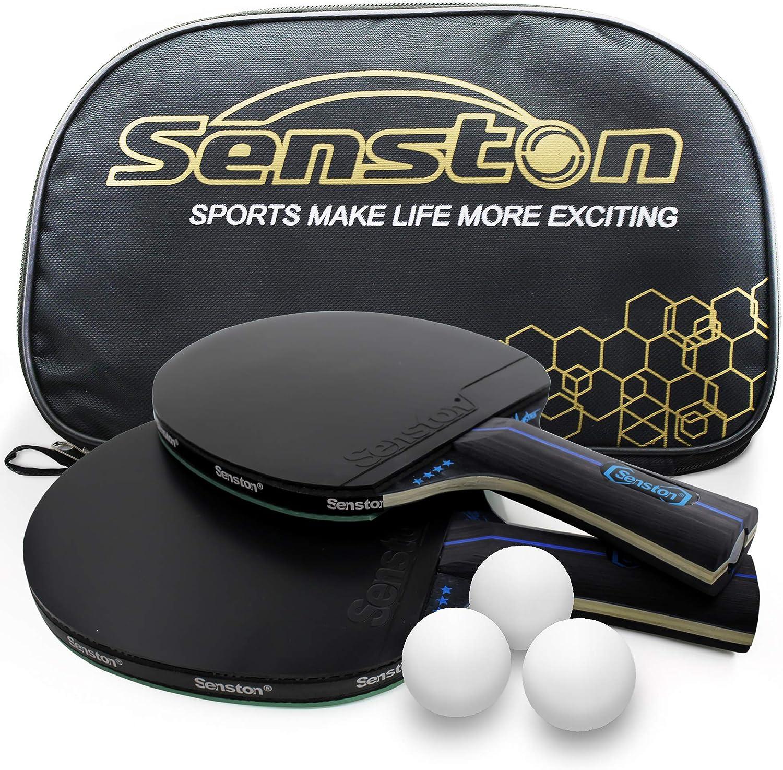 Senston Juego de Raquetas de Tenis de Mesa 3 Pelotas, 2 Palos de Ping Pong Profesionales, Juego de Tenis de Mesa con Bolsa de Transporte