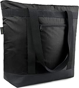 Waterproof Food Delivery Tote Bags Collapsible Cooler Bags Insulated Extra-Large Shopping Bag with Handle Sturdy Leakproof Thermal Bags for Groceries for Frozen Foods Heavy Duty, Black