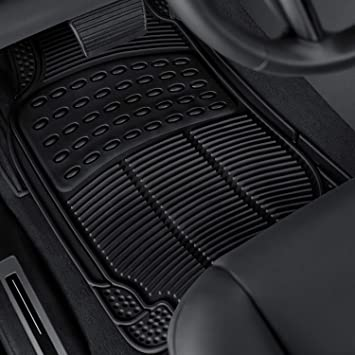 Black OxGord Universal Fit 3-Piece Full Set Ridged Heavy Duty Rubber Floor Mat
