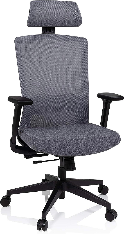 Sitztiefe /& Armlehnen verstellbar hjh OFFICE 732107 Profi B/ürostuhl CAPTIVO Stoff//Netz Grau Drehstuhl ergonomisch