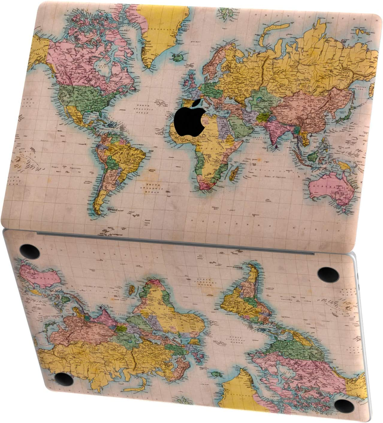 Mertak Vinyl Skin Compatible with MacBook Air 13 inch Mac Pro 16 15 Retina 12 11 2020 2019 2018 2017 Top Cover Decal Sticker Wrap Atlas Continents Keyboard Geography Old World Map Vintage Print